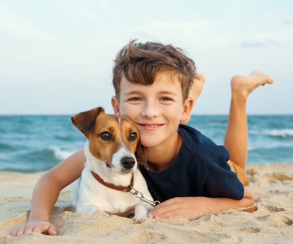 Young boy hugging a Jack Russell terrier at the seashore