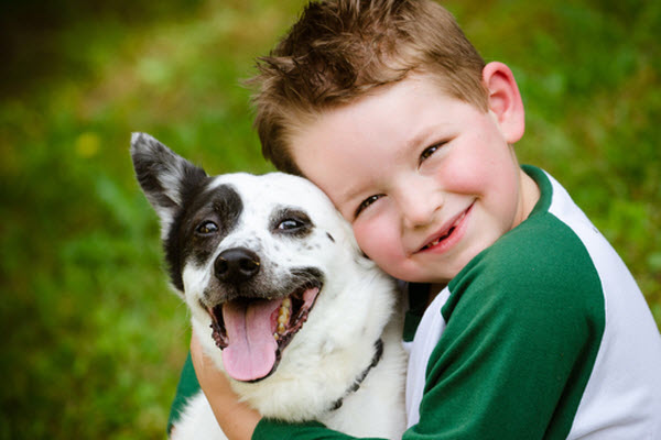 The charming boy and his cute dog